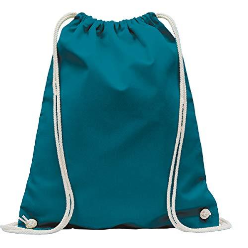 MyShirt Baumwoll Turnbeutel 38 x 46cm unbedruckt mit Kordelzug - 19 Farben - Jutebeutel Oeko-TEX® geprüft Gym Sack zum bemalen, Farbe:Petrol