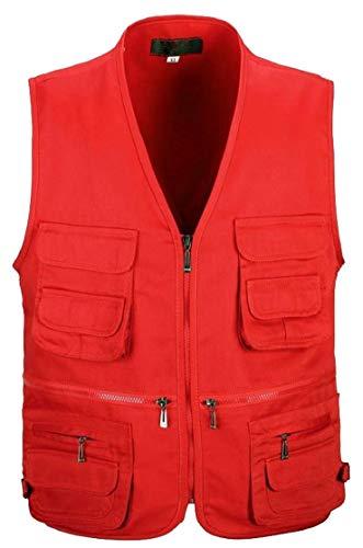 H&E - Camiseta de Tirantes - para Hombre Rojo Rosso M