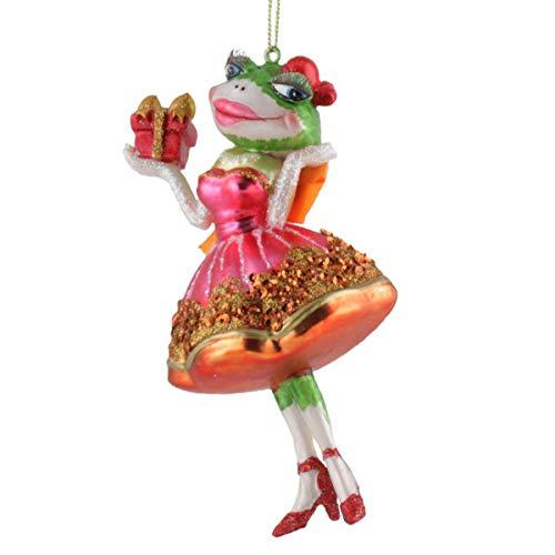 440s Gift Company - Hänger - Christbaumschmuck, Baumschmuck - Frog Bride, Froschbraut, Fröschin mit Geschenk - Rot - Glas - 7x14x9 cm