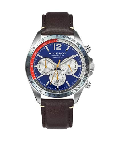 Viceroy 471273-35 Reloj Hombre Cuarzo Crono Acero Cuero Tamaño 42 mm