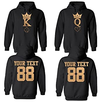 King & Queen Custom Couple Hoodie Customized Names & Number for him and her Personalized Matching Couples