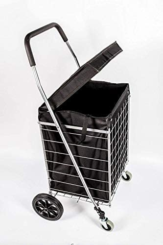 PrimeTrendz Grocery Laundry Utility PT5614 Shopping Cart with Water Proof Black Liner Cover product image