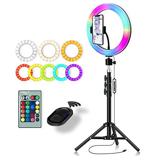 RGB Color Changing Ring Light: Yingnuost 10 inch Led Remote Control Circle Lamp with Phone Holder & Camera Tripod Stand for Photography Lighting Selfie iPhone Filming TIK Tok YouTube Video Recording