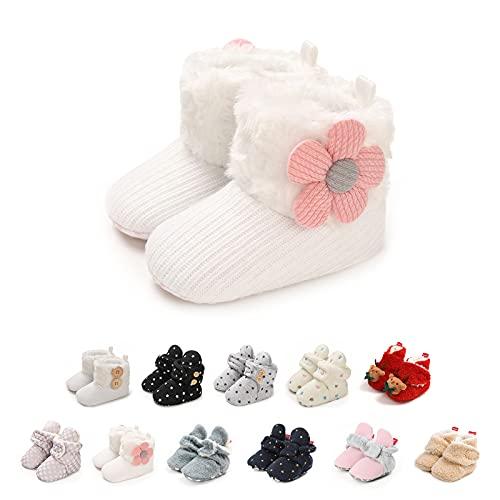 Zapatos Bebe Invierno, Lindos Suave de Suela Zapatos Primeros Pasos Antideslizante Zapatos de Invierno Cálido Botines Cuna Prewalker con Forro Polar Zapatos de Calcetín de Bebé
