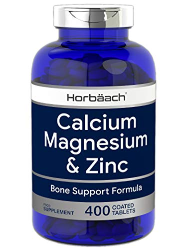 Calcium Magnesium Zinc | 400 Vegan Tablets | Osteo Supplement | Non-GMO, Gluten Free Supplement