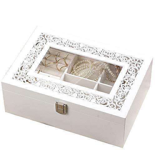 FIONAT Schmuckkästchen Holz Geschnitzte Transparente Glas Einfache Halskette Ohrringe Schmuck Aufbewahrungsbox Hochzeitsgeschenk, Schiebedach