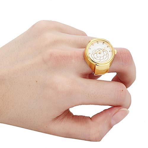 Reloj de anillo de dedo Reloj de anillo de esfera redonda de 2 colores Estilo casual Correa de reloj elástica Diseñado especialmente para mujeres(Golden)