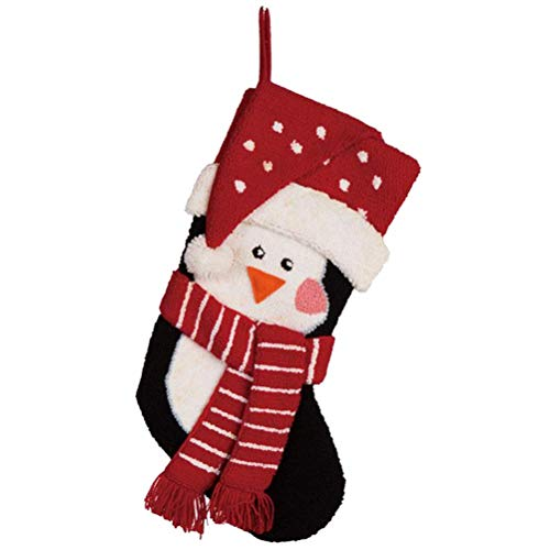 "Glitzhome Hooked Christmas Stocking, 19"" L, Penguin"