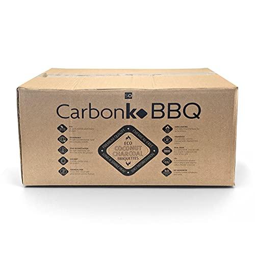 CarbonKo BBQ - Carbón para Barbacoa, Hecho de Coco de Primera Calidad. Producto Ecológico, sin químicos ni deforestación. Carbón de Coco, Calor Duradero y Estable. 12KG/26.5 LBS