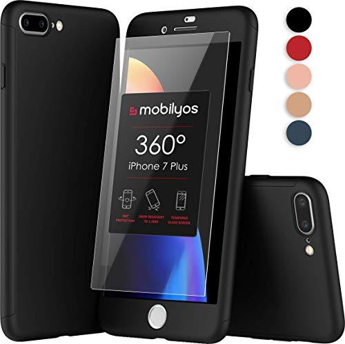Mobilyos Funda iPhone 7 Plus 360 Grados Completa - Carcasa Integral con Protector de Pantalla de Vidrio Templado para Apple iPhone 7 Plus - Funda Delantera y Trasera con Cristal Templado (Negro)