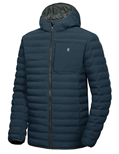 Best sport coat for travelling - Little Donkey Andy Men's Warm Waterproof Puffer Jacket Hooded Windproof Winter Coat with Recycled Insulation Dark Blue M
