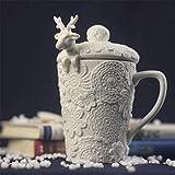 Taza Mug Regalo para Navidad 3D Amimal Parejas Tazas con Tapa Cute Milu Deer Coffee Cup Tazas De Leche Snow Ceramic Breakfast Creative Xmas Gift, Type A