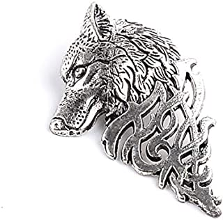 827d6bebeb1 Antique Silver Personality Hollowed Out Wolf Brooch Men's Suit Collar Pin  Buckle Charms - Fashion Retro