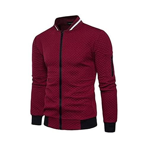 YPJYB Sudadera para Hombres, Chaqueta de Collar de pie con Cremallera, cómodo y Suave, Adecuado para: Correr, Comprar, Buscar Pareja, Todos los días (Color : Red, Size : S)