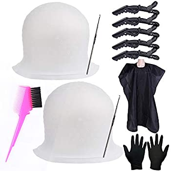 Silicone Highlight Caps Set for Color Hair 2 PCS Professional Reusable Highlighting Caps with Hooks & Salon Hairdressing Dyeing Staining Tools for Women Men