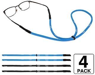 MoKo Adjustable Eyewear Retainer, [4 Pack] Universal Fit Rope Sports Sunglasses Retainer, Unisex Sunglass Strap Safety Glasses Holder for Men, Women - Black & Blue