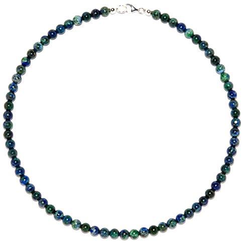 Azurit-Malachit Schmuck (Halskette) Azurit-Malachit Kette Kugeln Größe ca. 6 mm Verschluss 925er Sterling-Silber Modellnummer 139
