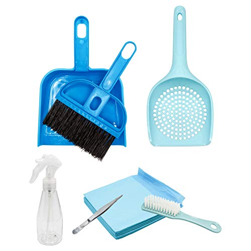 Small Animal Cage Cleaner, Pet Cleaning Tool Set Mini Broom Brush, Dustpan and Pet Mat for Guinea Pigs, Cats, Hedgehogs, Hamsters, Chinchillas, Rabbits, Cage Cleaning Tool Set for Animal Waste (Blue)