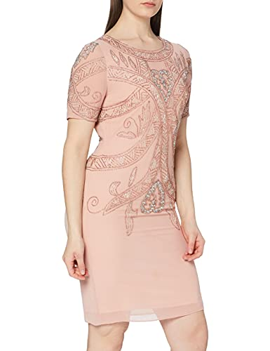 Frock and Frill Damen Fiona Short Sleeve Embellished Mini Dress cocktailkleid, Pink (Barely Pink #Ffb6c3), 38 (Herstellergröße: UK 12)