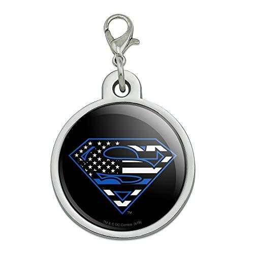 GRAPHICS & MORE Superman Thin Blue Line Flag Shield Logo Chrome Plated Metal Pet Dog Cat ID Tag