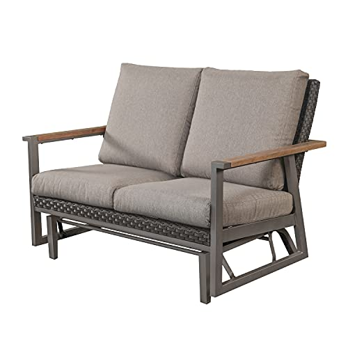 LOKATSE HOME Patio Glider Rocking Chair Outdoor 2 Person Bench Metal Swing Loveseat with Faux Wood Armrest, Wicker Backrest and Thick Cushion, Grey
