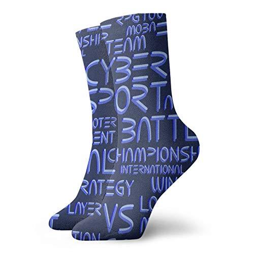 Anime calcetines Patern Con Cyber Deporte Palabras Super suaves de secado rápido transpirable calcetines deportivos unisex de la tripulación calcetines de 30 cm