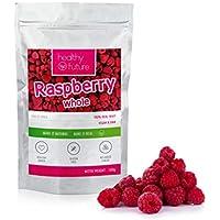 Frambuesas liofilizadas 100% naturales, sin gluten, sin azúcares añadidos, sin conservantes, merienda de fruta saludable (100g)