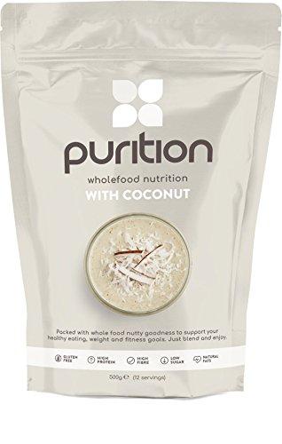 Purition frullato proteico al Cocco (500gr) proteine in polvere - Sostituto di un pasto con il 100% di ingredienti naturali e senza glutine