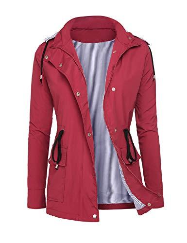 DOSWODE Women's Raincoat-Red
