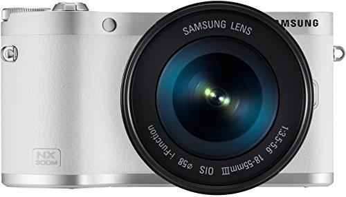 Samsung NX300M kompakte Systemkamera (20,3 Megapixel, 2-fach opt. Zoom, 8,4 cm (3,3 Zoll) Touchscreen) inkl. 18-55 mm OIS i-Function Objektiv weiß