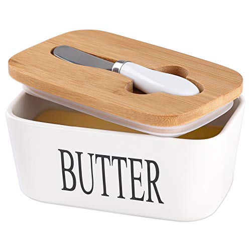 Ceramic Butter Dish with Wooden Lid, Lesige Large Butter Container Keeper Storage Plate with Stainless Steel Butter Knife, Bamboo Cover and Silicone Sealing Ring for West East Coast Butter, White