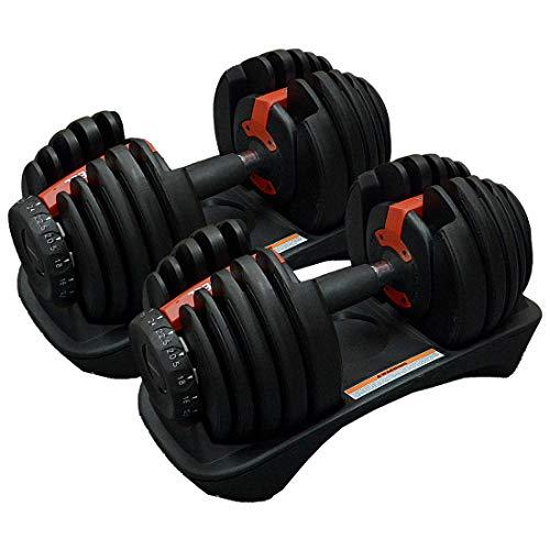 【Elblus】ダンベル 可変式 2.5-24kg 2個セット 筋トレ バーベル 15段階重さ調整可能 ブロック