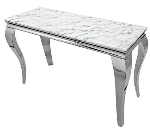 Casa Padrino Mesa de Comedor de diseño mármol 180 cm Blanco/Gris - Barroco Moderno