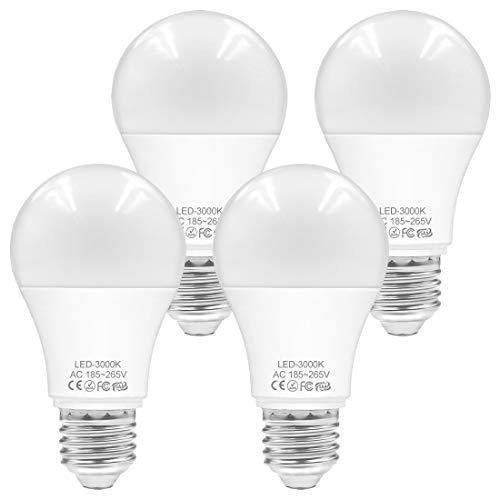 WELLHOME E27 LED Lampe Warmweiss, 9W LED Birne Ersetzt 60W Glühbirne, 3000K Classic A Kolbenform Leuchtmittel 800 Lumens Sparbirnen, 4er-Pack