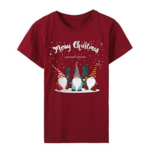 NANTE Top Women's Blouse Christmas Gnome Doll Graphic T-Shirt Xmas Lights Baseball Raglan Blouses Long Sleeve Tee Shirts Tops (Wine, XL)