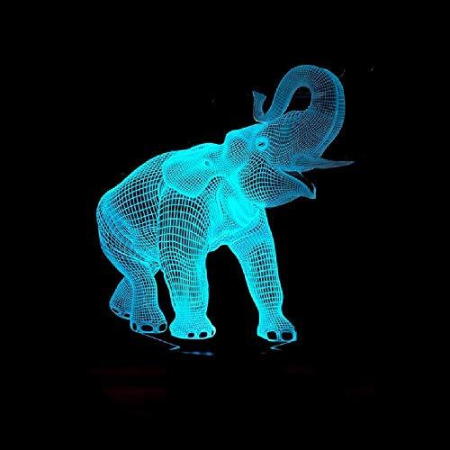 Nuevo Elefante 3D Luz De Noche 7 Lámpara Led Táctil Colorida Regalos Visuales Estéreo 3D Luminaria De Mesa Lámpara De Mesa