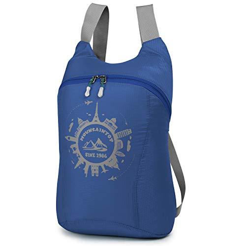 MOUNTAINTOP 10L Unisex Faltbarer Rucksack Leichter Tagesrucksack Handgepäck für Wandern Reisen Outdoor Sport, Indigo
