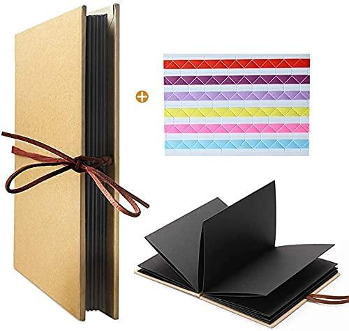 Leeq Album fotografico a fisarmonica, con copertina rigida, 36 pagine, per laurea, compleanno, anniversario, regalo di matrimonio (pagine nere)