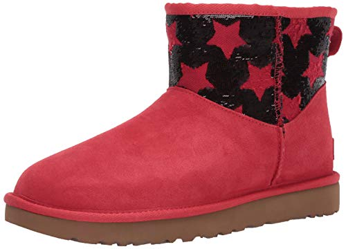 UGG Damen Classic Mini Sequin Stars STIEFEL, Rot (Ribbon Red), 38 EU