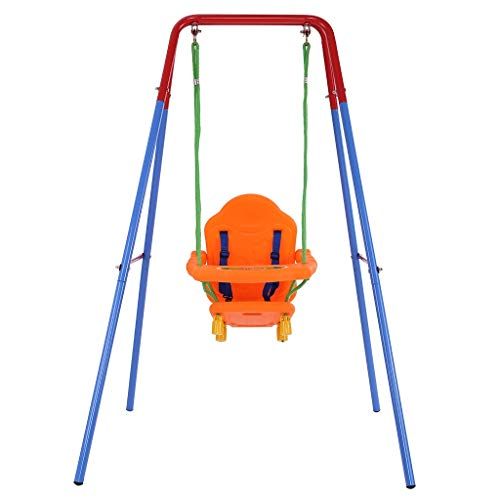 MENGQIN Toddler Simple Swings Set Indoor Outdoor Easy to Assemble High Back Seat with Safety Best for Infants Best Gift for Baby [ U.S Shipping ] (Multicolour)