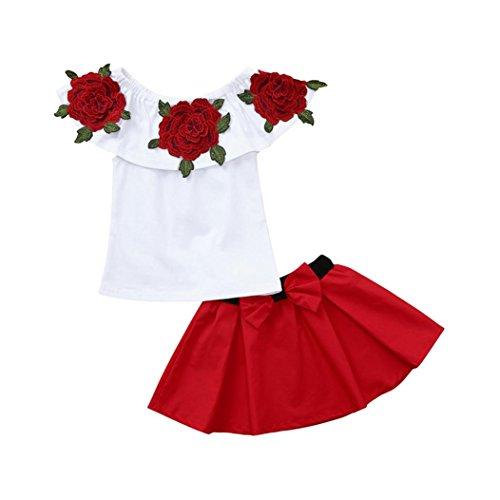 2019 Toddler Bambina Camicie Senza Maniche con Ricamo sulle Spalle Top Rosa tutù Gonne 2 Pezzi di Vestiti per Baby Girl -Calculator® (Bianca, 4-5 Anno