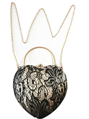 WZH WomensVintageClutch Purse Heart-shapedHandbagChain Shoulder Evening Bagfor Wedding/Party/Cocktail/Shopping (black)