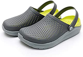 LSWL Women's Summer Sandals For Beach Sports Women Men's Slip-on Shoes Slippers Female Male Croc Clogs Crocks Crocse (Color : Grey yellow, Shoe Size : 43)