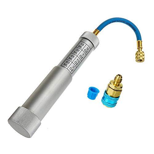"""GCDN a / C ca Aceite y Tinte Inyector con R-134a Ajuste Rápido Acoplador 1/4"""" SAE Mano Turn 2OZ del Compresor Inyección Herramienta Coche / R134A. Profesional para el Hogar Sistema de Enfriamiento"""