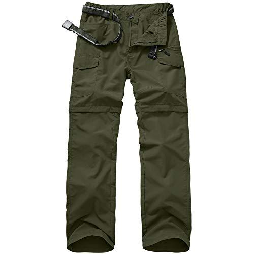 Jessie Kidden Mens Hiking Pants Convertible Quick Dry Lightweight Zip Off Outdoor Fishing Travel Safari Pants (6055 Army Green 34)