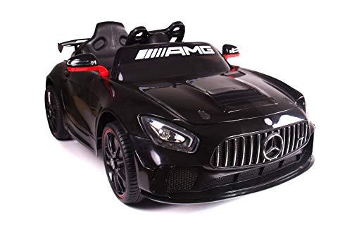 RIRICAR Voiture électrique Enfant, Mercedes-Benz GT4, Noir, 1 Place, avec Télécommande 2,4 Ghz, 2X Moteurs 25W, Batterie 12V - 7AH
