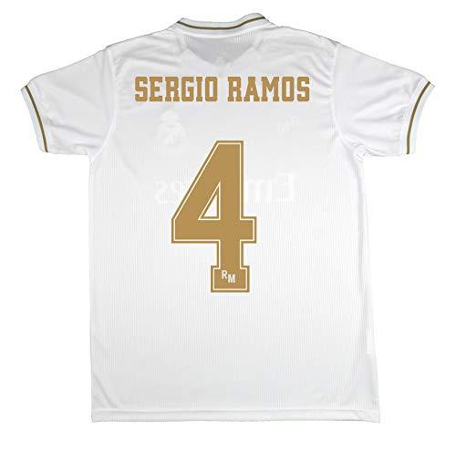 Real Madrid Trikot für Kinder, Sergio Ramos, offizielles Lizenzprodukt, Saison 2019-2020, Weiß, weiß, Talla 8