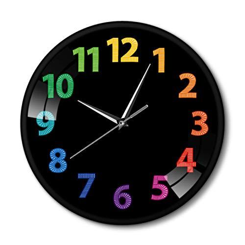 yage Reloj de Pared Moderno con números Coloridos, Reloj de Pared con Estampado de arcoíris Decorativo, Reloj Negro de Metal de Cuarzo silencioso para Sala de Estar, decoración del hogar