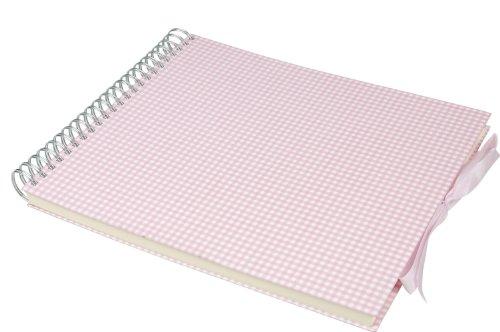 Semikolon (353009) Maxi Mucho Album vichy rosa weiß-rosa kariert - Spiral-Foto-Album mit 90 Seiten und Leinen-Einband - Schwarzem Fotokarton