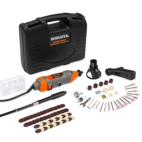 Terratek Rotary Tool Kit 135W with 80pc Accessory Set & Storage Case, Variable Speed 8000-33000rpm, Ideal for DIY, Woodwork & Hobby Craft, Dremel Compatible